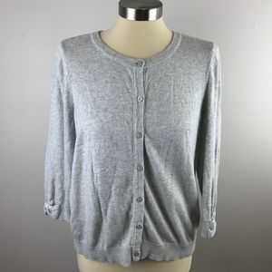 Elle Womens L Gray Button Front Cardigan Sweater